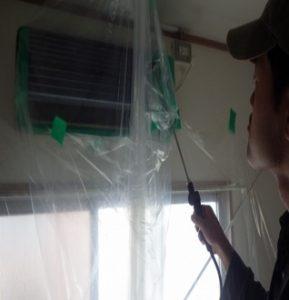洗剤を噴霧